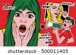 pop art style fashion patch... | Shutterstock .eps vector #500011405