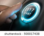 hand about to press a 2017... | Shutterstock . vector #500017438
