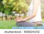 girl do yoga at the park in the ... | Shutterstock . vector #500024152