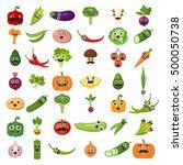 smiling vegetables set on white ... | Shutterstock . vector #500050738