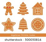 set of gingerbread christmas... | Shutterstock .eps vector #500050816