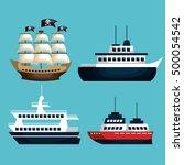 set of marine transport vessels | Shutterstock .eps vector #500054542