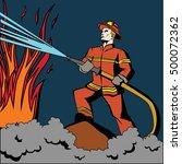 pop art firefighter. retro... | Shutterstock .eps vector #500072362