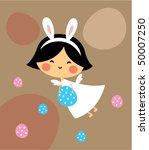 cute bunny angel easter greeting | Shutterstock .eps vector #50007250