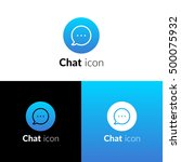 chat icon  logo with light blue ...
