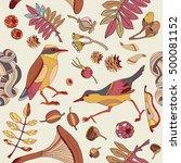 birds in autumn forest seamless ... | Shutterstock .eps vector #500081152