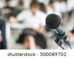 speaker's microphone in seminar ... | Shutterstock . vector #500089702