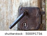 Old Lock On Old Wooden Door