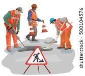 asphalt repair. repairs. men in ... | Shutterstock .eps vector #500104576