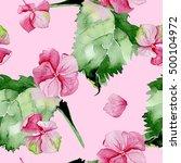 pink hydrangea watercolor... | Shutterstock . vector #500104972
