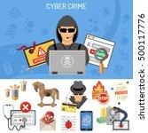 cyber crime concept for flyer ... | Shutterstock .eps vector #500117776