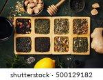 assortment of dry tea. tea... | Shutterstock . vector #500129182