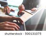 medical technology network team ... | Shutterstock . vector #500131075