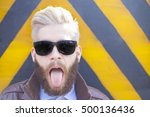 Blond Hipster Guy With Beard...