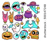 halloween set of patches with... | Shutterstock .eps vector #500147248