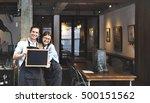 couple barista coffee shop... | Shutterstock . vector #500151562