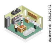restaurant kitchen isometric... | Shutterstock .eps vector #500152342