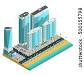 isometric city composition with ... | Shutterstock .eps vector #500155798
