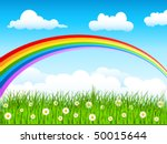 spring background with rainbow  ... | Shutterstock .eps vector #50015644