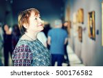 closeup on attentive pleasant ... | Shutterstock . vector #500176582