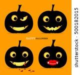 happy halloween background with ... | Shutterstock .eps vector #500182015