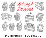 bakery and pastry desserts... | Shutterstock .eps vector #500186872