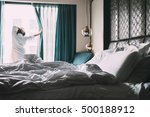 woman is in hotel room at the... | Shutterstock . vector #500188912