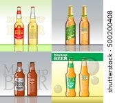 digital vector beer set mockup  ... | Shutterstock .eps vector #500200408