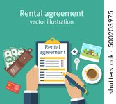rental agreement form contract. ... | Shutterstock .eps vector #500203975