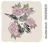hand drawn flying humming bird... | Shutterstock . vector #500206825
