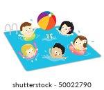 kids having fun in the pool | Shutterstock .eps vector #50022790