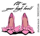 beautiful pink high heels with... | Shutterstock .eps vector #500235166