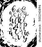 vector alphabet on grunge brush ... | Shutterstock .eps vector #500240896