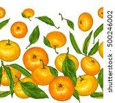 seamless pattern with mandarins.... | Shutterstock .eps vector #500246002