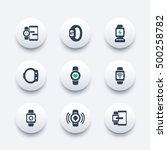 smart watch icons set  fitness...