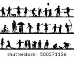 set of children silhouettes... | Shutterstock .eps vector #500271136