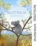 australian landscape  poster.  ... | Shutterstock .eps vector #500274196