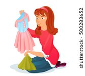 woman chooses what to wear.... | Shutterstock .eps vector #500283652