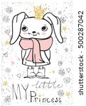 cute little princess rabbit girl   Shutterstock .eps vector #500287042
