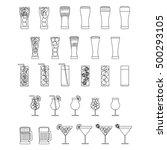 outline drinks set with beers ... | Shutterstock .eps vector #500293105