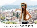 young female traveler enjoying... | Shutterstock . vector #500295322