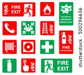 fire safety icon set. fire... | Shutterstock .eps vector #500296636