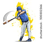 illustration of a baseball... | Shutterstock .eps vector #500302366