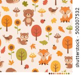 autumn forest pattern with cute ... | Shutterstock .eps vector #500307532