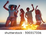 group of friends making party... | Shutterstock . vector #500317336