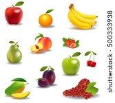 fresh juicy fruit and berries... | Shutterstock .eps vector #500333938