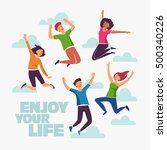 group of young people jumping... | Shutterstock .eps vector #500340226
