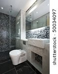 Modern Bathroom In Black And...