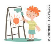 smiling kid artist painting on... | Shutterstock .eps vector #500341372