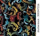 colorful baroque damask... | Shutterstock .eps vector #500347216